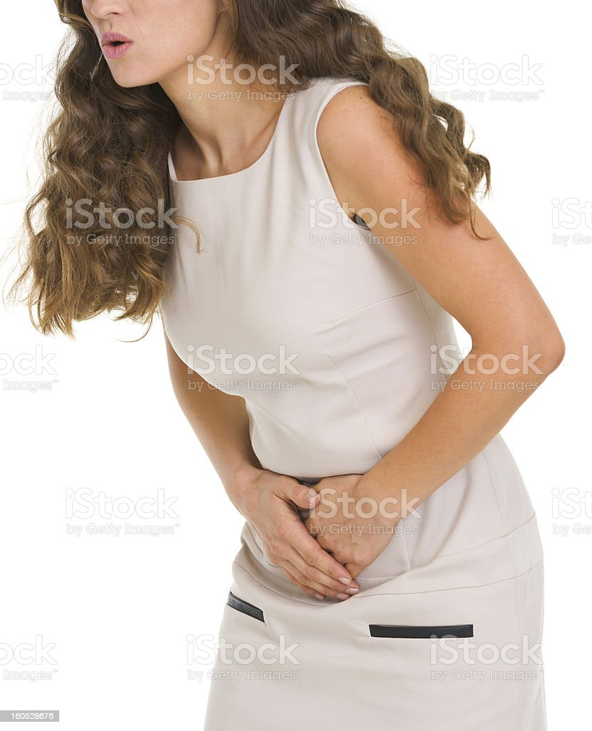 Closeup on woman having stomach pain royalty-free stock photo