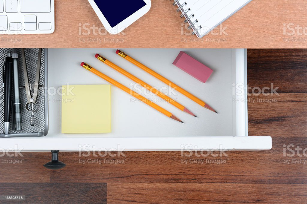 Closeup Open Desk Drawer stock photo