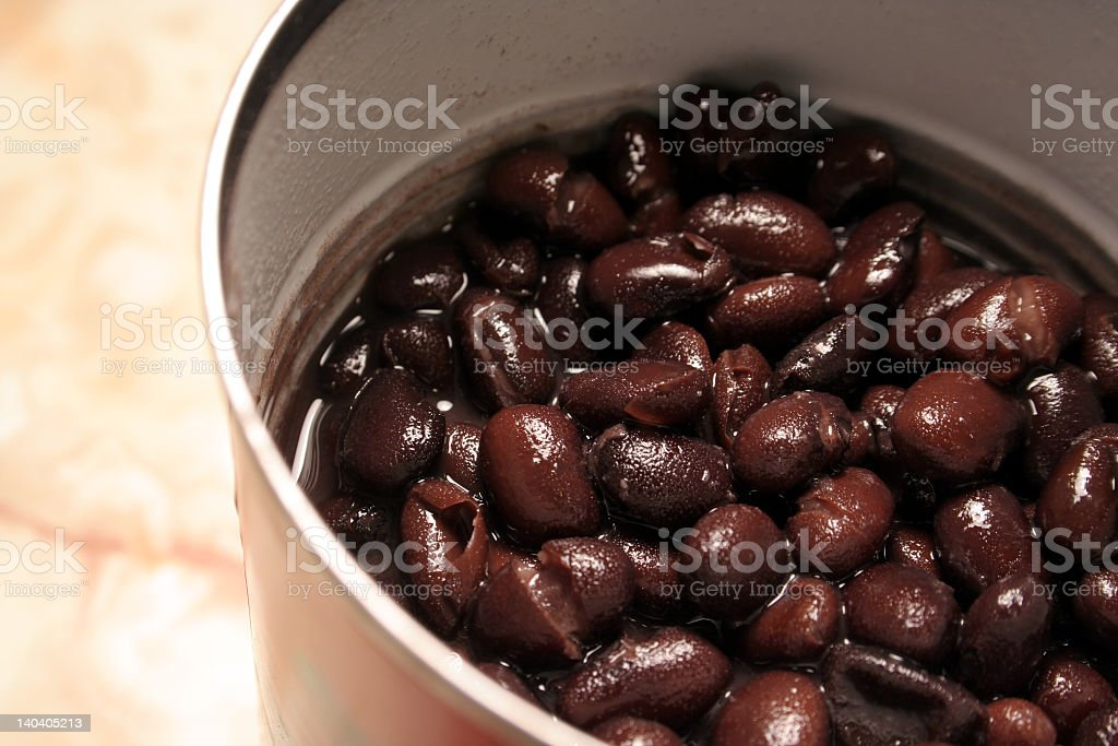 Close-up opened can of black beans royalty-free stock photo