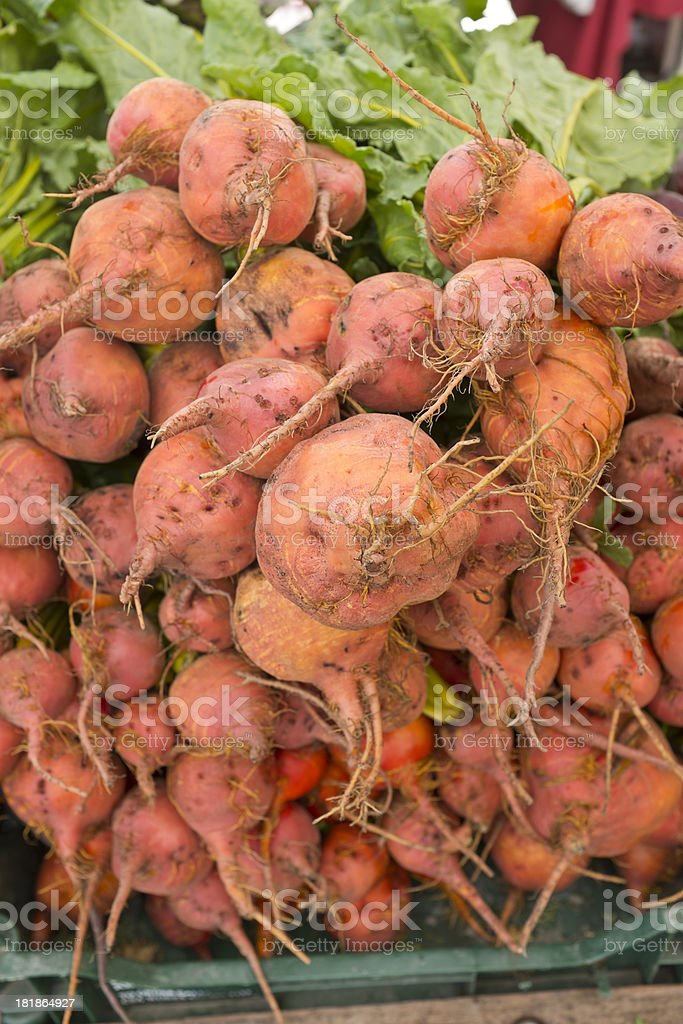 Close-up Organic Beets at Outdoor Farmer's Market royalty-free stock photo