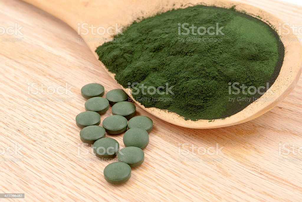 Closeup  organic spirulina algae stock photo