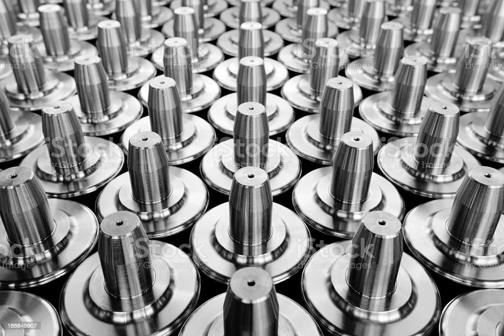 Closeup pattern image of metal components stock photo