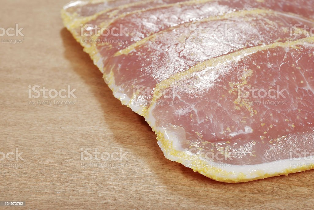 closeup peameal bacon shallow DOF stock photo