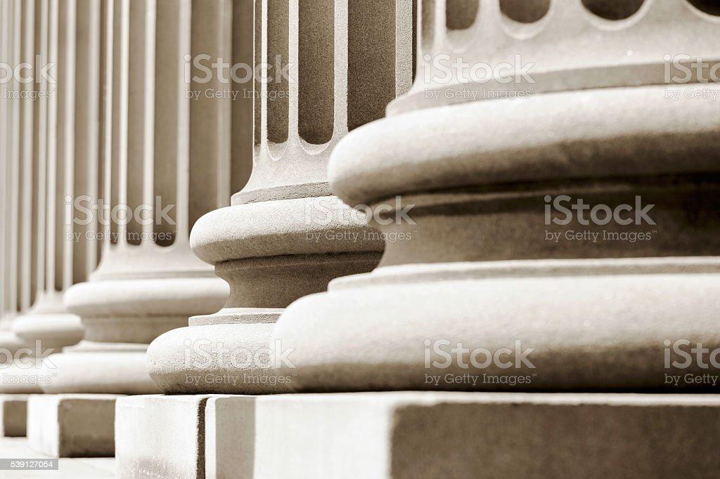 Closeup pedestals of classical columns stock photo