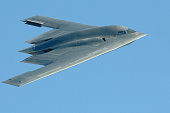 Close-up photo of a B-2 stealth bomber in flight