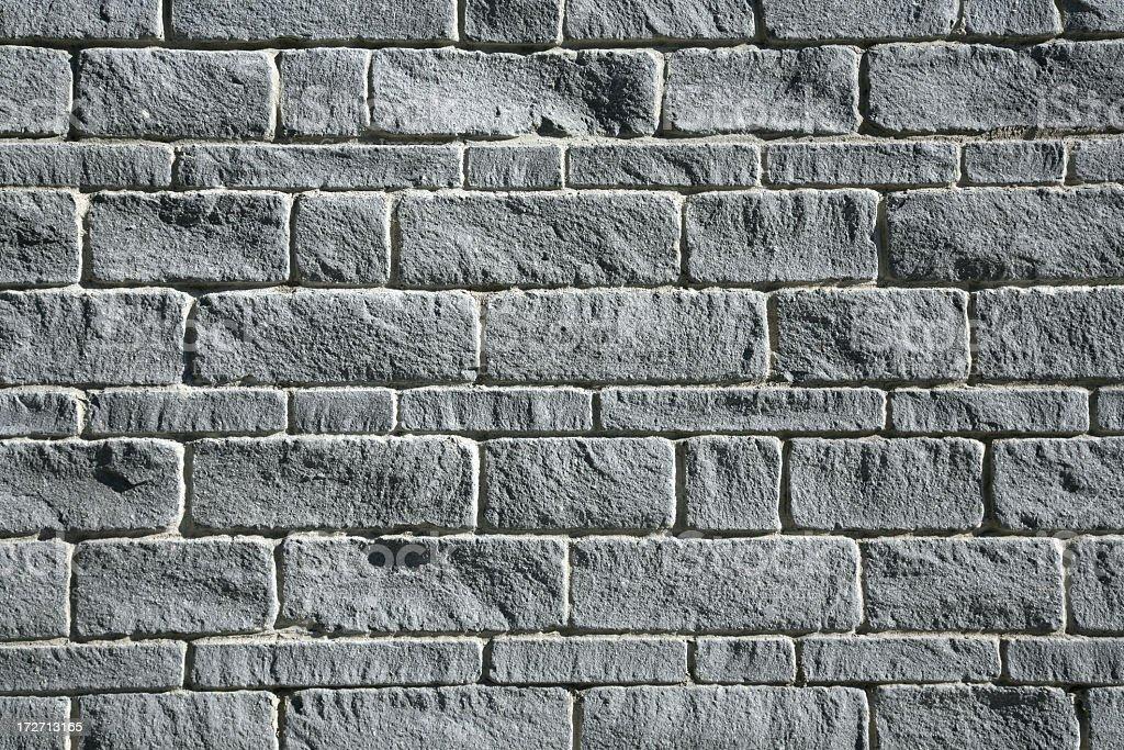 Close-up photo of a gray brick exterior wall stock photo