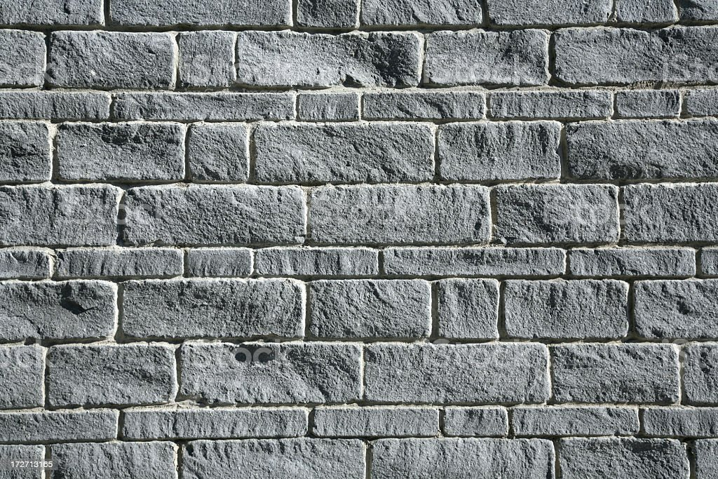 Close-up photo of a gray brick exterior wall stock photo
