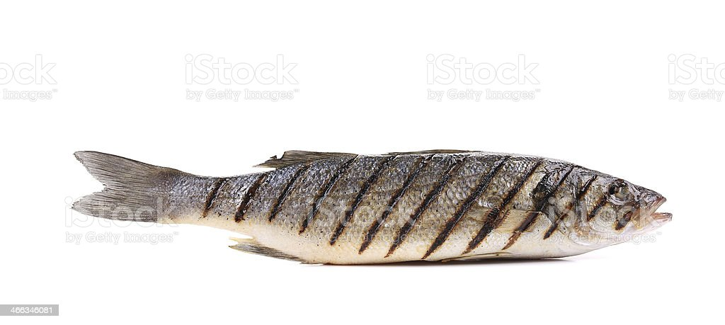 A close-up photo of a grilled seabass stock photo