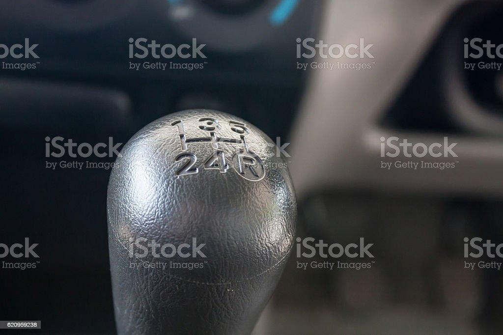 Closeup photo of car interiors, car gear stock photo