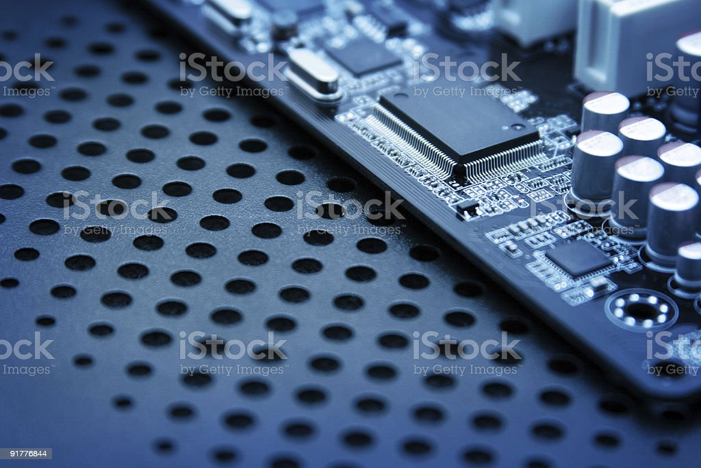 Closeup photo of computer circuit board royalty-free stock photo