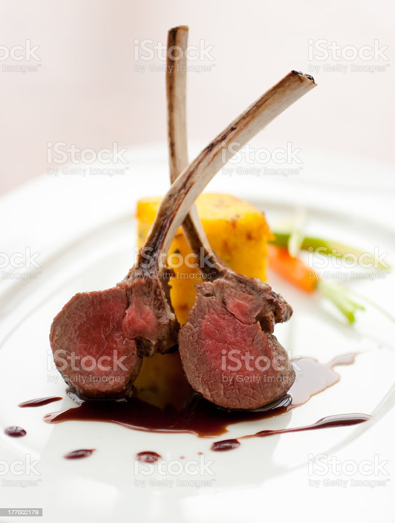 Close-up photo of gourmet cooked lamb ribs stock photo