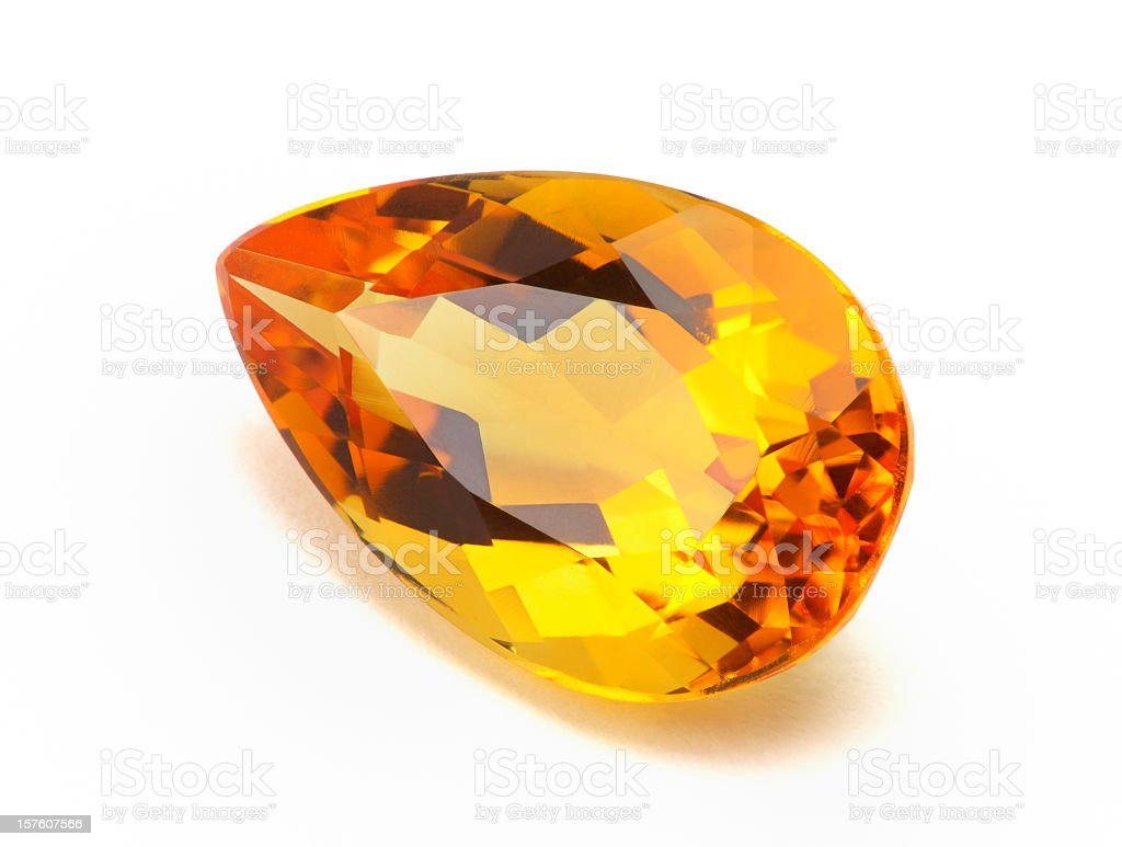 Close-up photo of imperial topaz or citrine stock photo