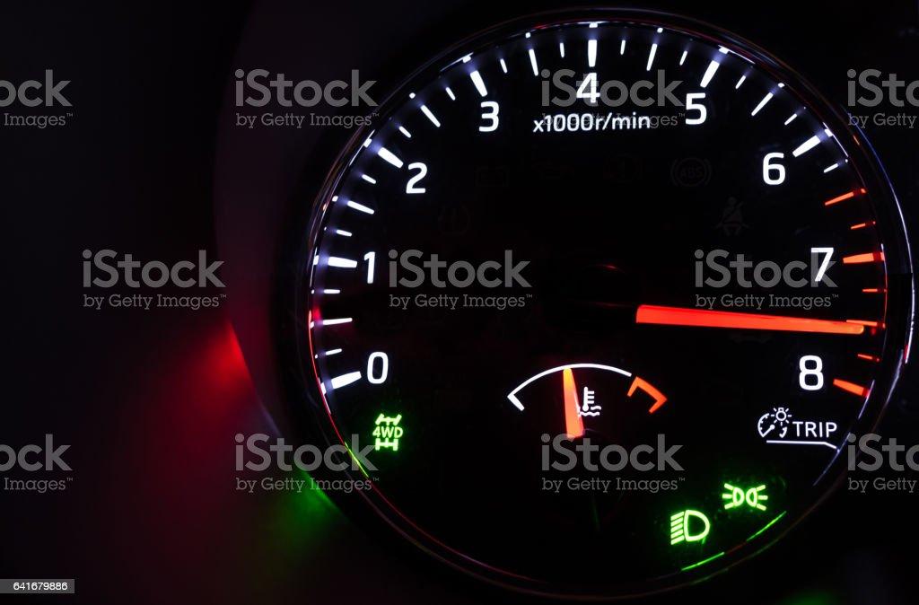 Close-up photo of modern car tachometer stock photo