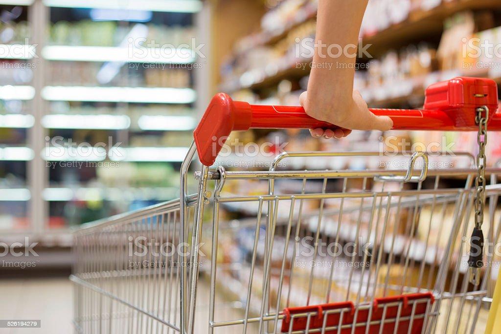 Close-up photo of shopping cart stock photo