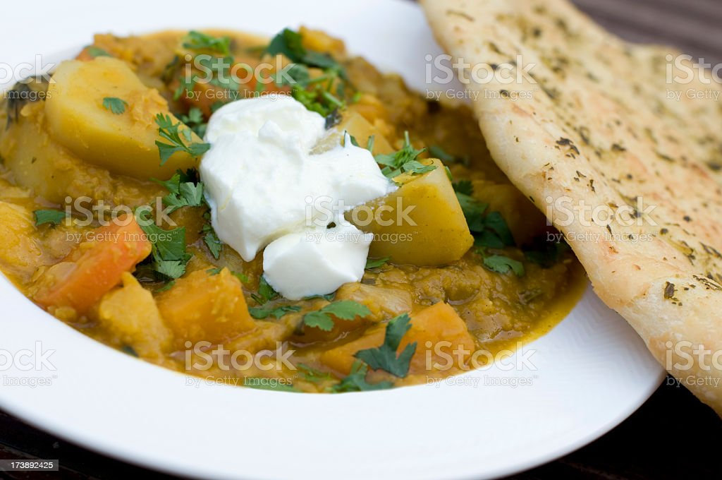 Close-up photo of spicy root and lentil casserole royalty-free stock photo