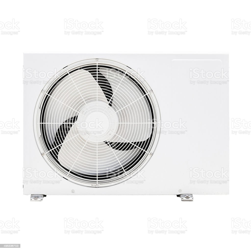 Closeup photo of white outer air conditioner device isolated on stock photo