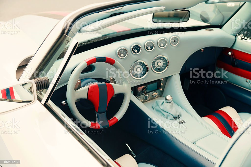 Close-up photo of white vintage car royalty-free stock photo