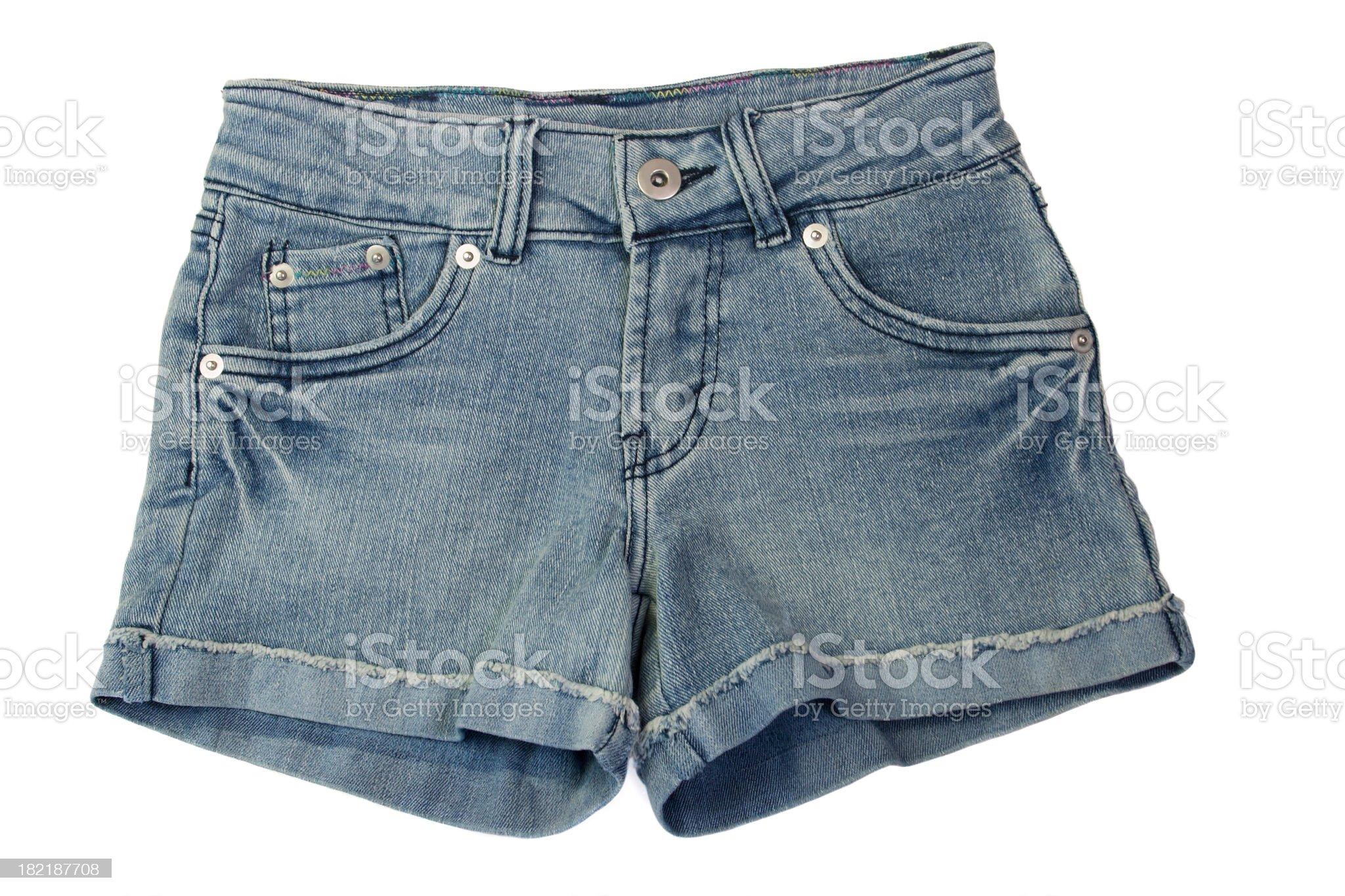 Closeup photograph of denim shorts royalty-free stock photo