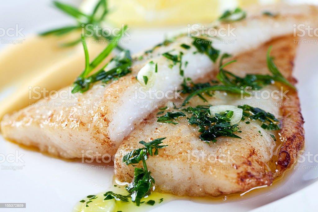 Closeup photograph of white fish stock photo