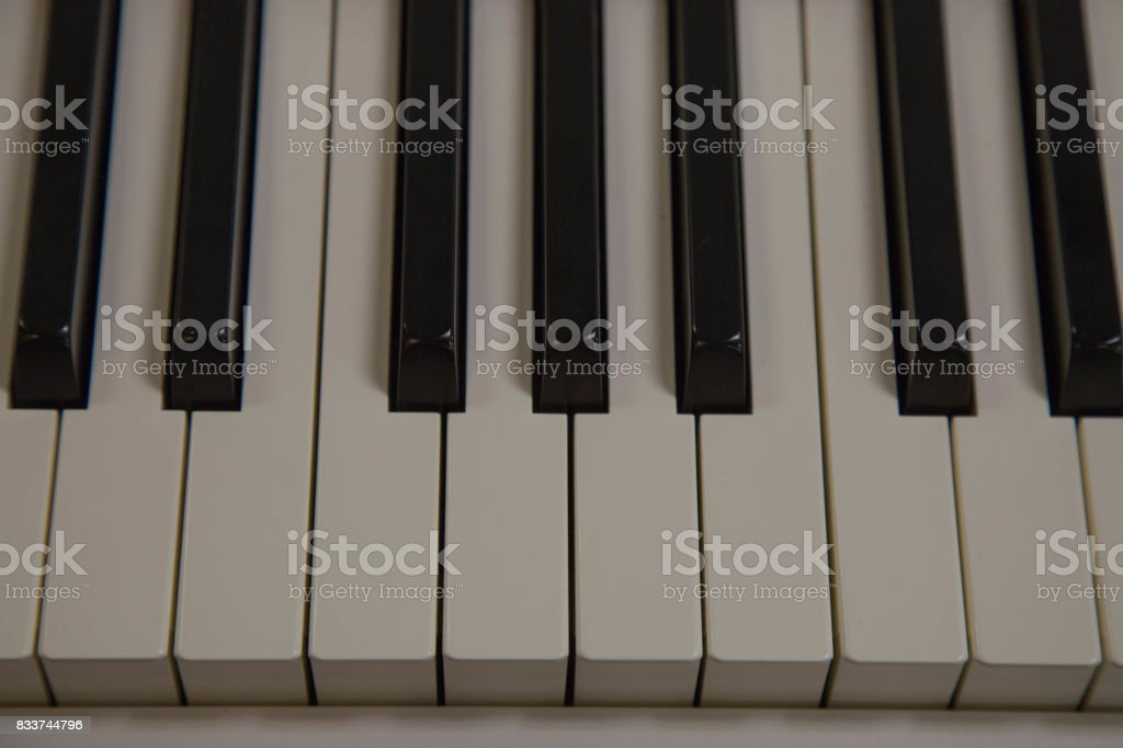 Closeup piano key white music instrument stock photo