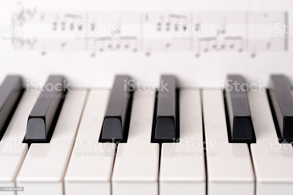 Close-up piano keyboard stock photo