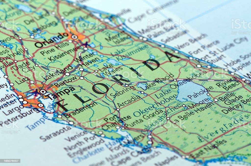 Close-up picture of a busy paper map of florida royalty-free stock photo