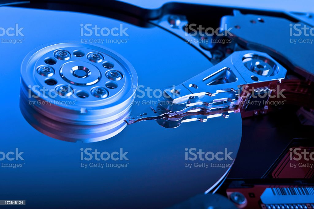 A close-up picture of a computer hard drive  stock photo