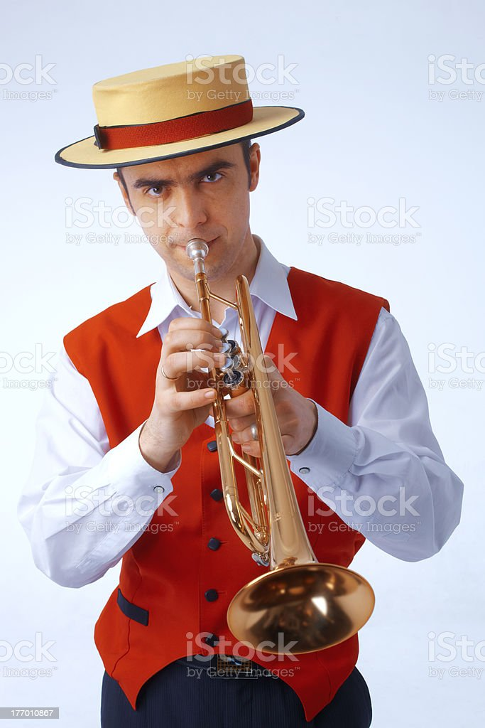 Closeup picture of a man playing on trumpet royalty-free stock photo