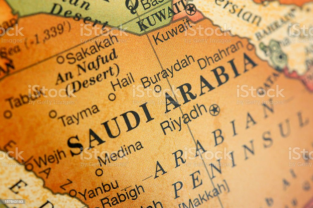 Close-up picture of a map of Saudi Arabia stock photo