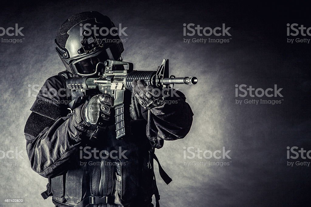 Close-up picture of a SWAT police office in mission stock photo
