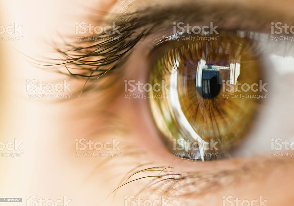 A closeup picture of an open, hazel brown eye  stock photo