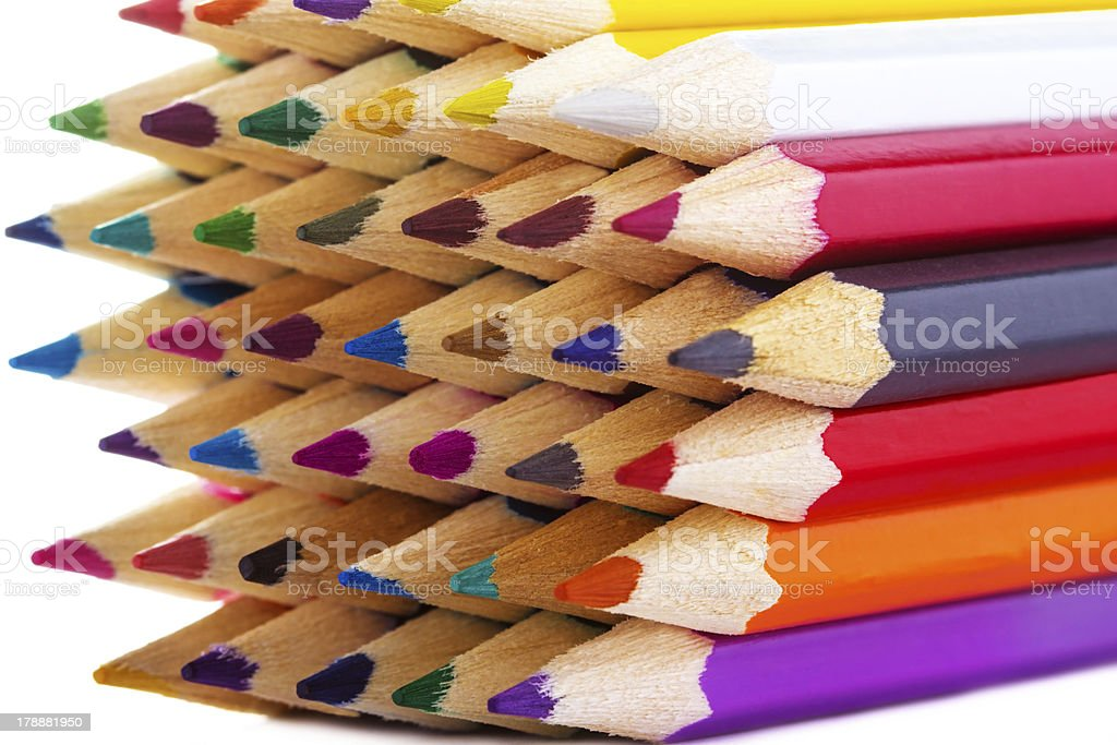 Close-up picture of multicolor pencils royalty-free stock photo