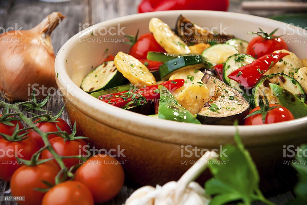 Closeup picture of oven roasted vegetables stock photo