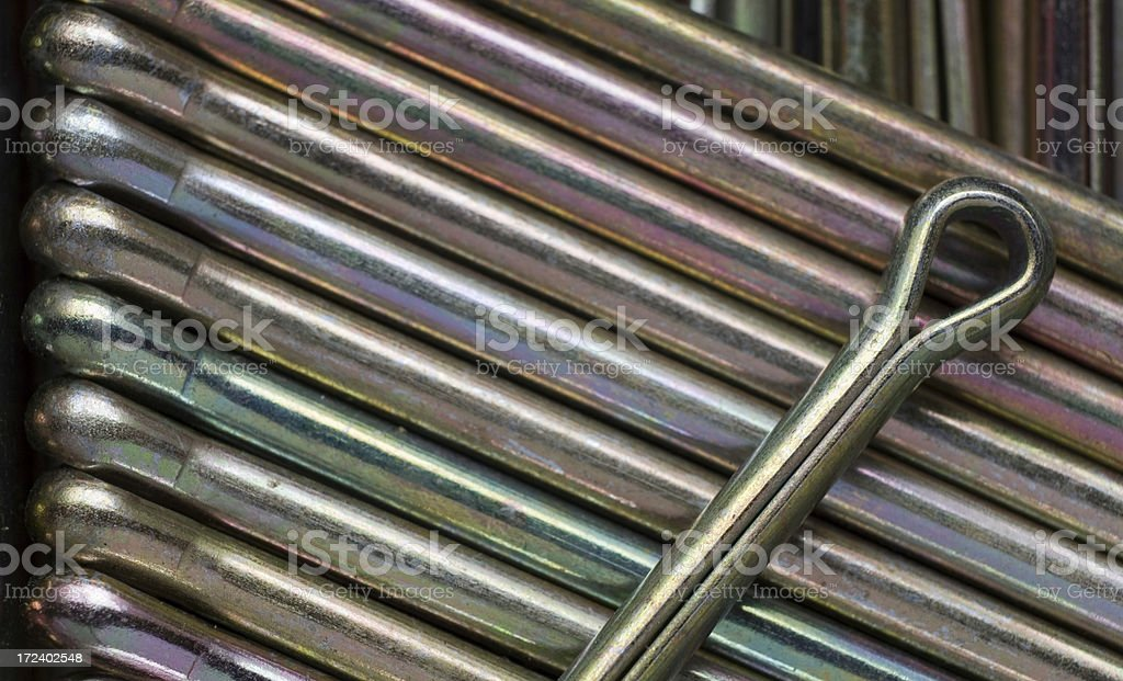 Close-up picture of some split pins. stock photo