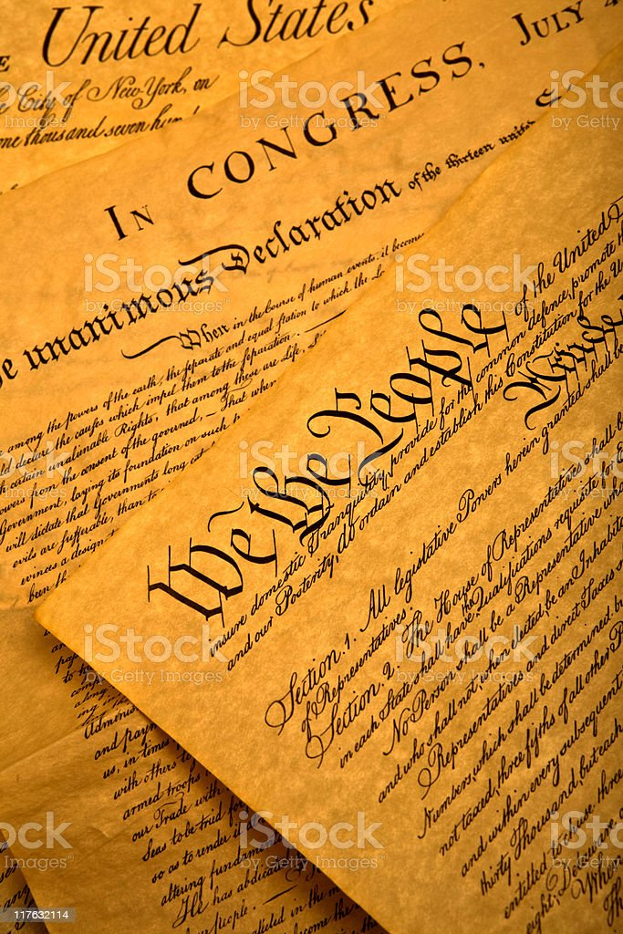 Close-up picture of the United States Constitution stock photo