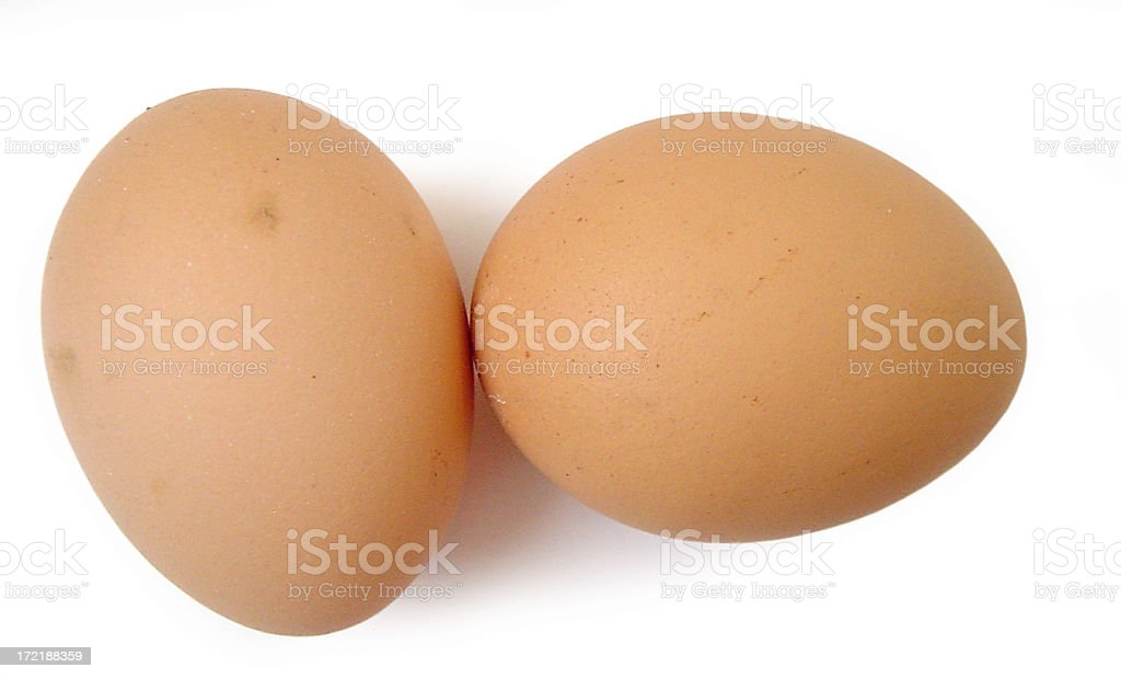 Close-up picture of two brown eggs stock photo