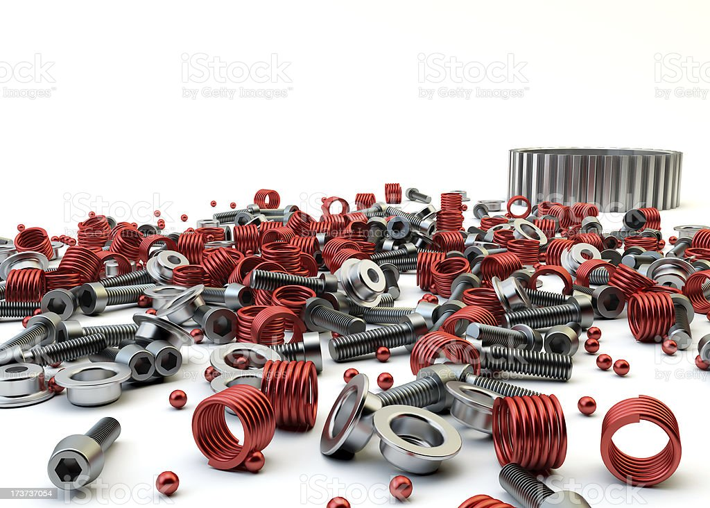 Closeup Pile of nuts and bolts from disassembled clutch royalty-free stock photo