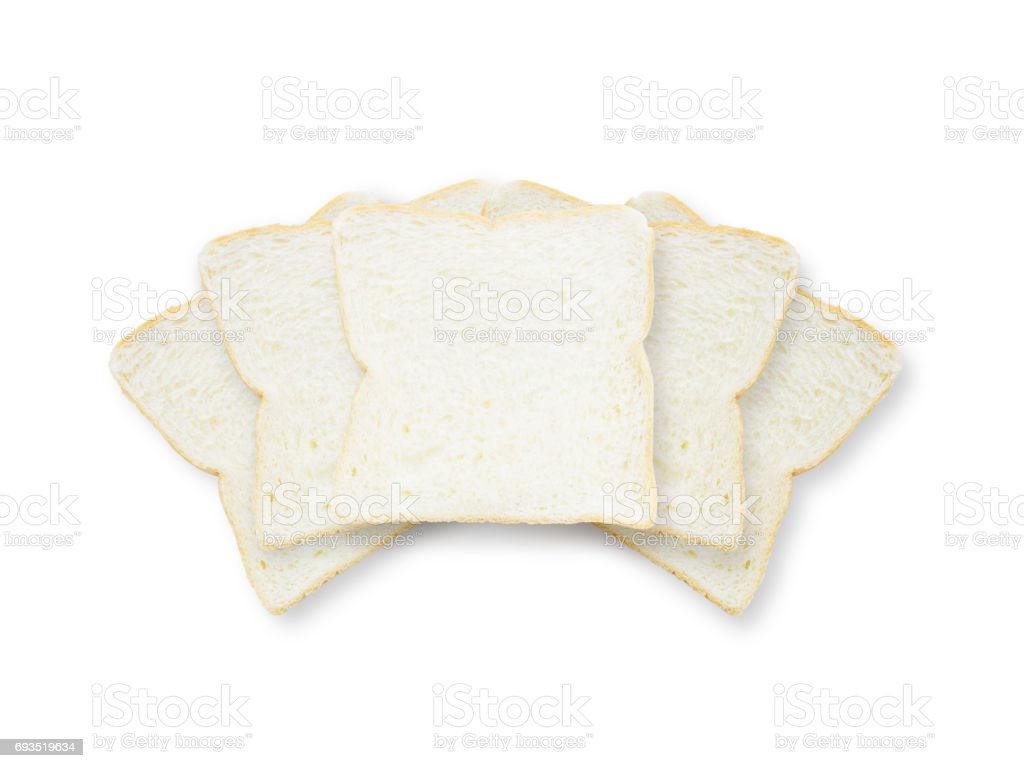 Closeup pile of slice bread for breakfast with shadow isolated on white background stock photo