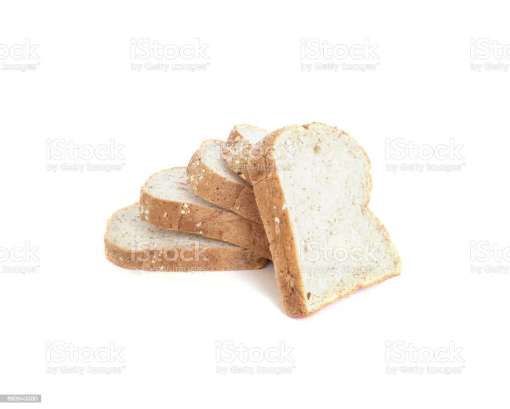 Closeup pile of wheat bread for breakfast with shadow isolated on white background with clipping path stock photo