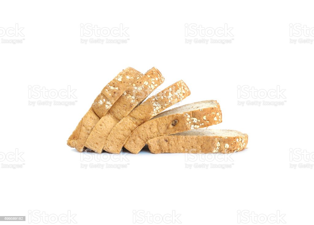 Closeup pile of wheat bread for breakfast with shadow isolated on white background stock photo