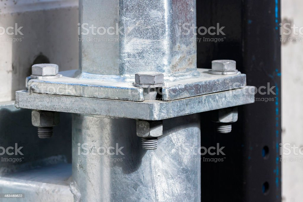 Closeup pipework flange joint with screws and bolts stock photo