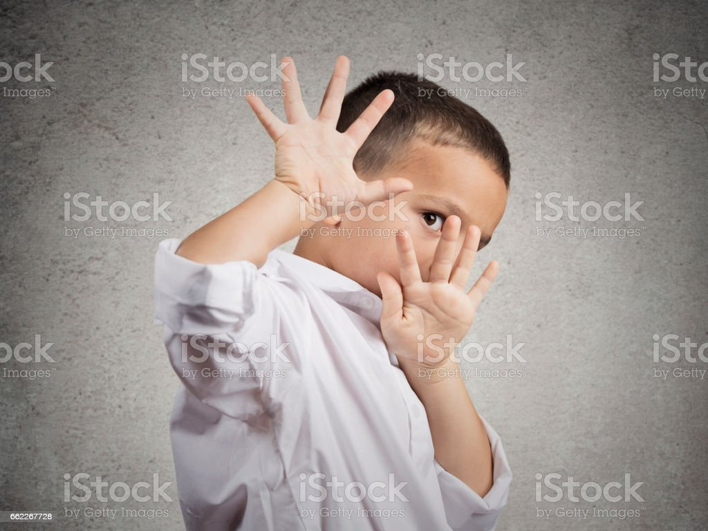 Closeup portrait child boy looking shocked stock photo