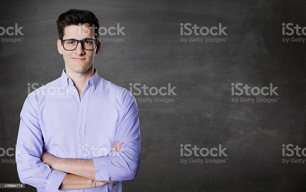 Closeup portrait, handsome excited, energetic, happy, smiling student man stock photo