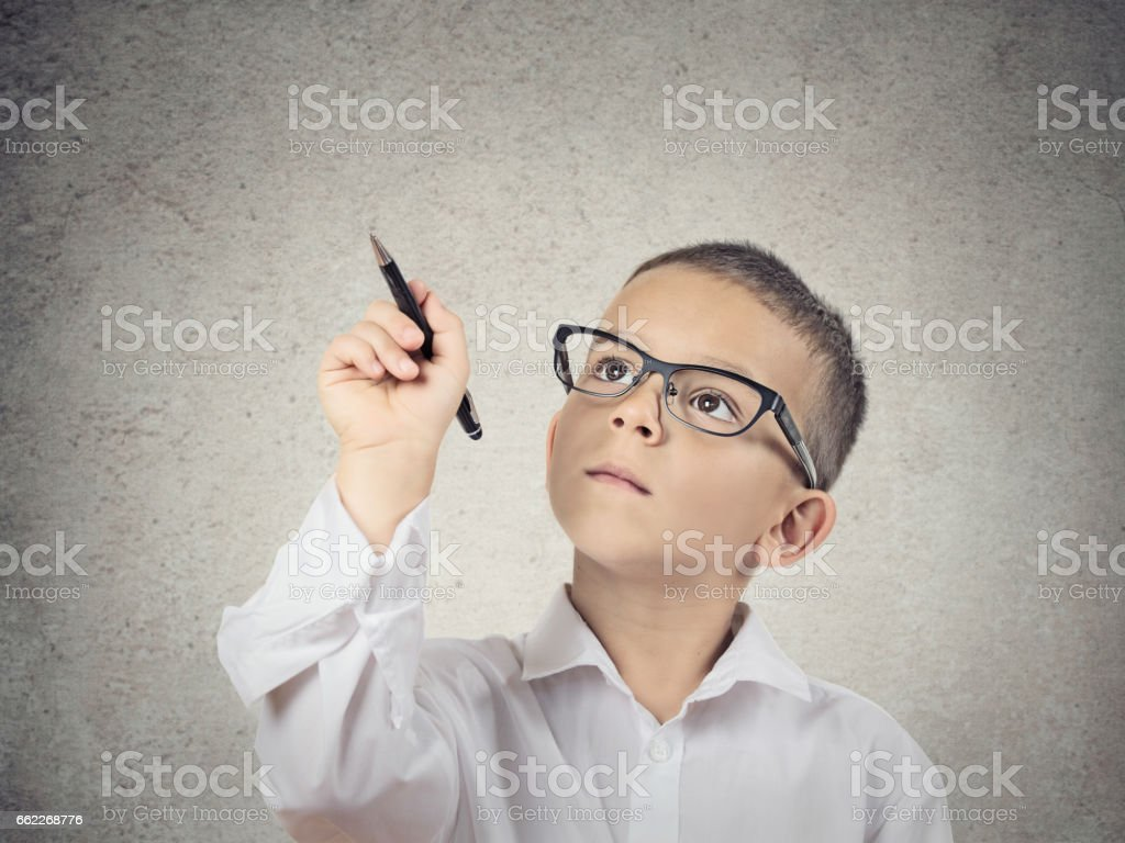 Closeup portrait happy boy, little man, student with glasses stock photo