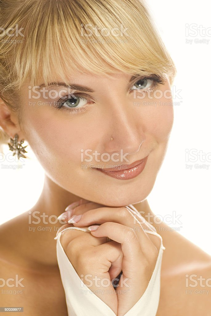 Close-up portrait of a beautiful blond girl royalty-free stock photo