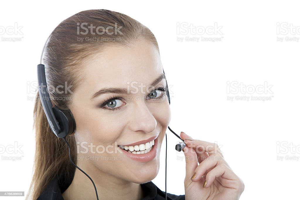 Close-up portrait of a beautiful customer service worker. royalty-free stock photo