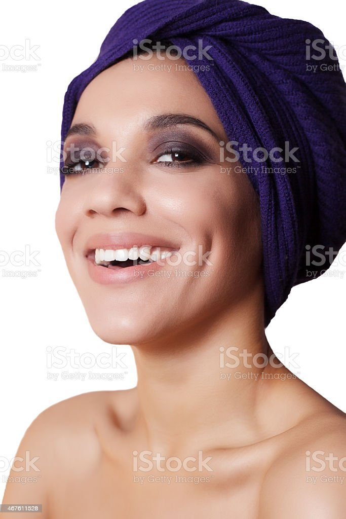 close-up portrait of a beautiful dark skinned woman who stock photo