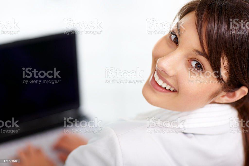 Closeup portrait of a beautiful young business woman stock photo