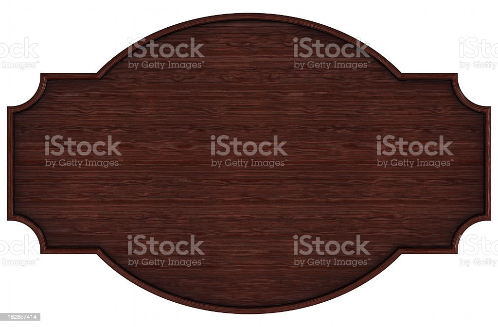 Closeup portrait of a blank dark wooden nameplate on white stock photo