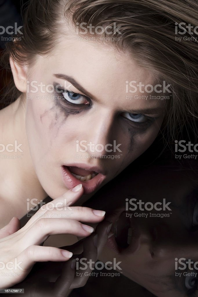 close-up portrait of a crazy woman royalty-free stock photo